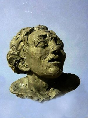 Bust sculpture of fearful face