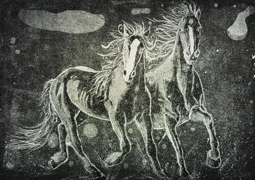 Print of horses