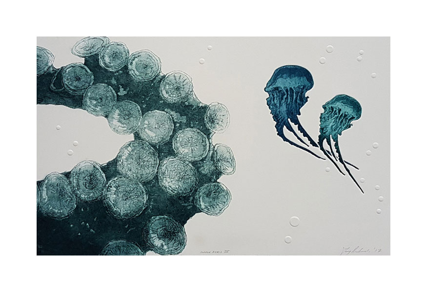 Print of octopus tentacle and jellyfish