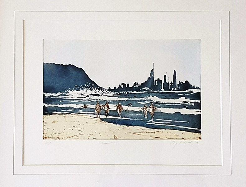 Print of people on beach in water