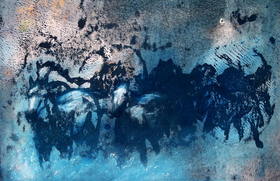 Monoprint of horses