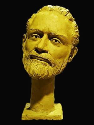 Bust sculpture of male face