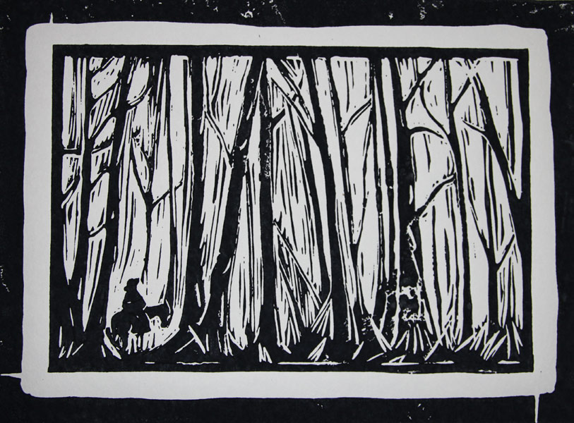 Print of forest and horse