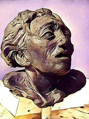 Mixed media digital print of face sculpture