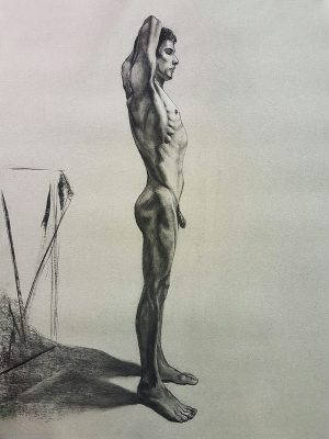 Drawing of male form