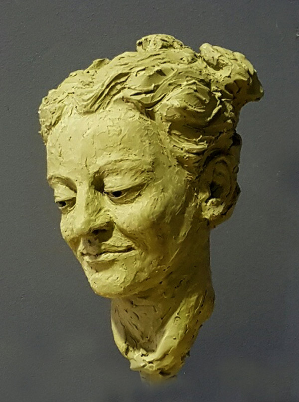 Bust sculpture of female face