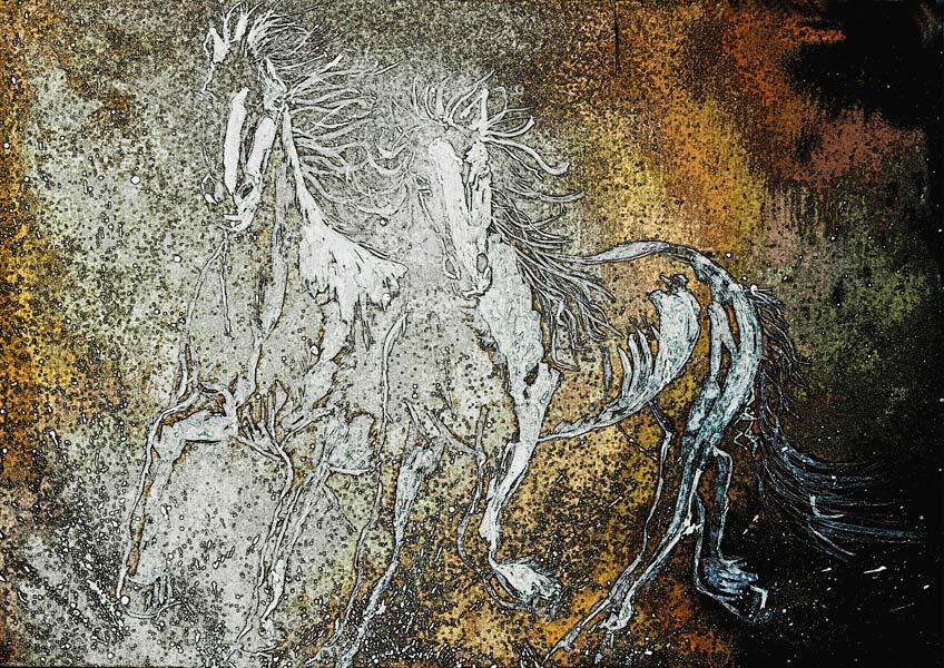 Mixed media print of horses