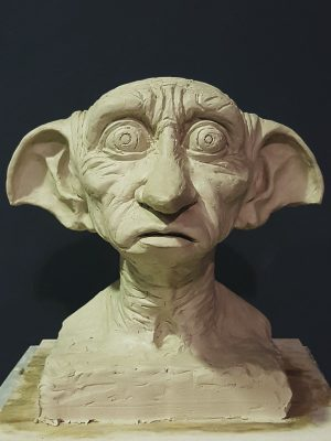 Bust sculpture of Harry Potter elf character face
