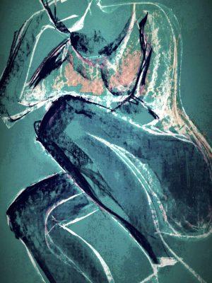 Mixed media drawing of human form
