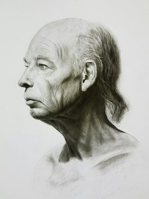 Portrait drawing of male face