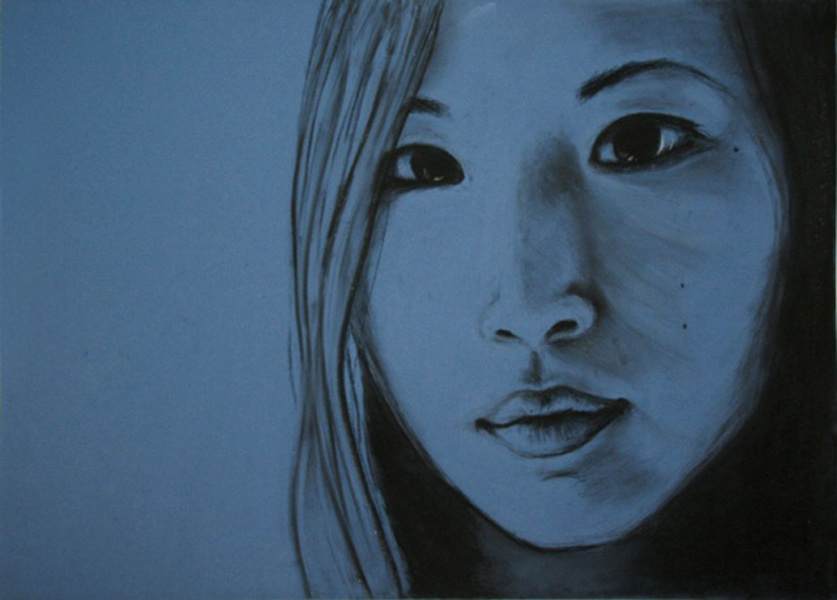 Portrait drawing of female face