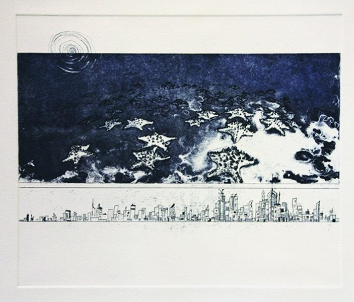 Print of starfish and city