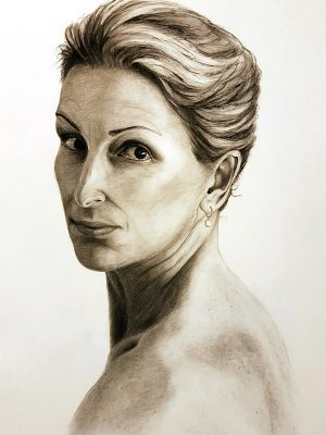 Self portrait drawing of female face