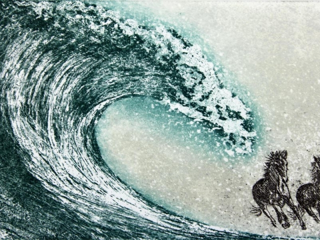 Print of horses and waves