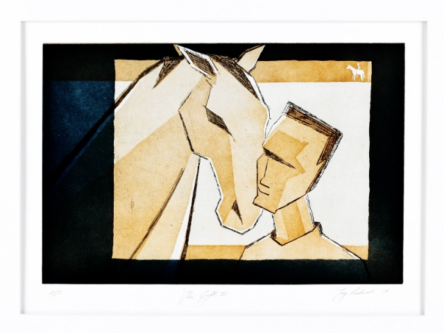 Print of horse and human