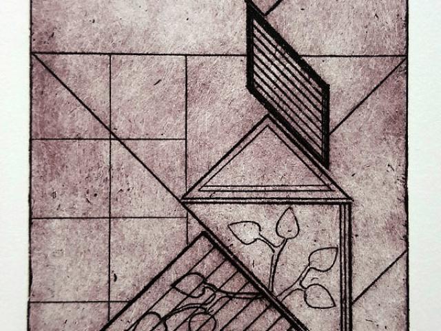 Print of geometric and organic shapes